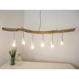 Lampe en bois flotté Lampe en bois flotté avec cadres en porcelaine ~ 133 cm