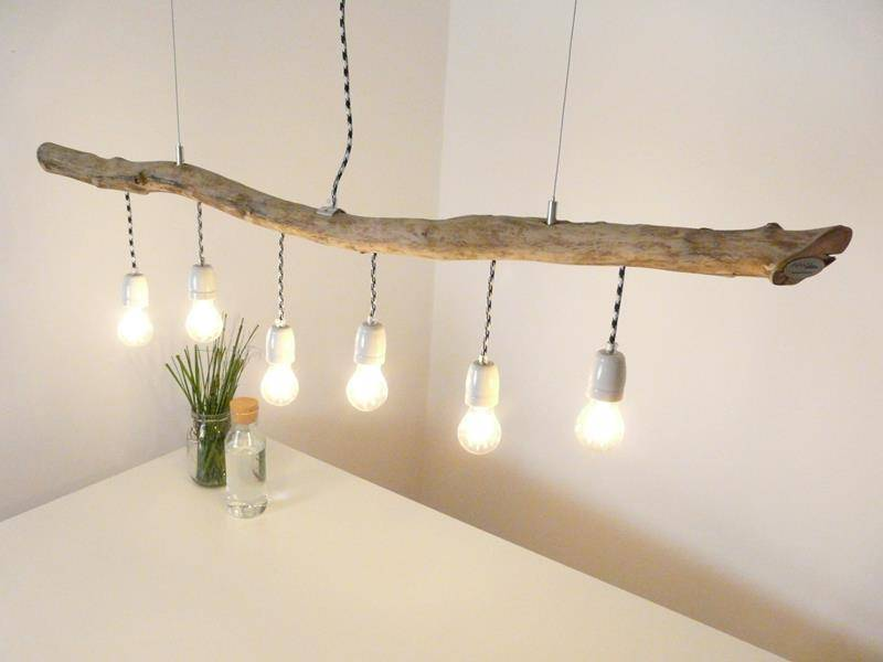 Dining Table Lamp Made Of Driftwood