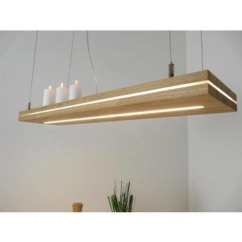 """Lampe suspendue """"Sandwich"""" chêne huilé ~ 120 cm"""