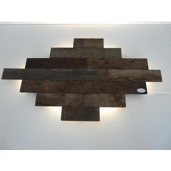 Led wall lamp made of antique wood