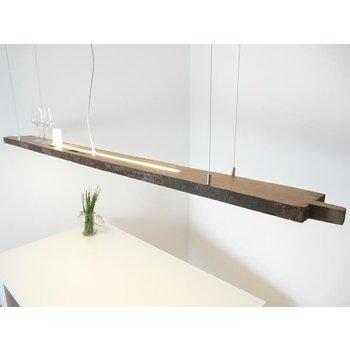 Lampe LED XXL suspendue poutres anciennes en bois clair ~ 217 cm