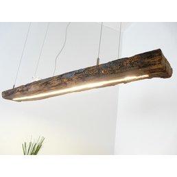 Lampe suspendue rustique en bois, poutre antique ~ 122 cm