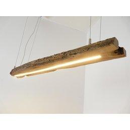Lampe LED suspendue poutres anciennes en bois clair ~ 104 cm