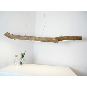 Lampe en bois flotté avec lumière supérieure et inférieure ~ 193 cm