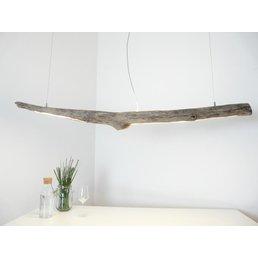 Lampe LED en bois flotté Lampe suspendue en bois flotté avec lumière supérieure et inférieure ~ 149 cm