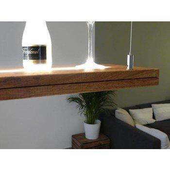 Hängelampe Holz Eiche geölt mit Ober und Unterlicht ~ 100 cm