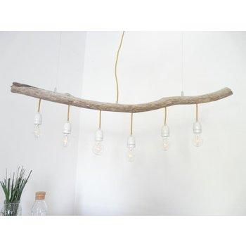 Schwemmholzlampe Treibholzleuchte mit Porzellanfassungen ~ 124 cm