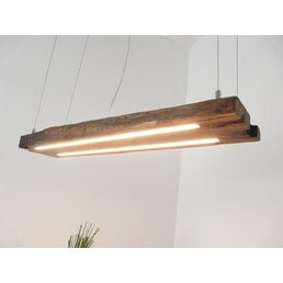 LED Hängeleuchte Holz antik Balken dunkel geölt ~ 87 cm
