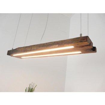 Lampe à suspension LED poutres en bois antique huilé foncé ~ 87 cm