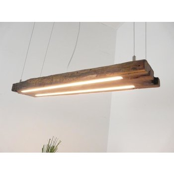LED hanging lamp wood antique bars dark oiled ~ 87 cm