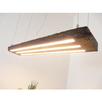 LED Hängeleuchte Holz antik Balken dunkel geölt ~ 90 cm