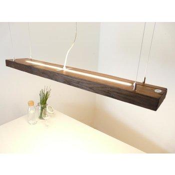 Lampe en bois poutres antiques huilées foncées avec lumière supérieure et inférieure ~ 110 cm