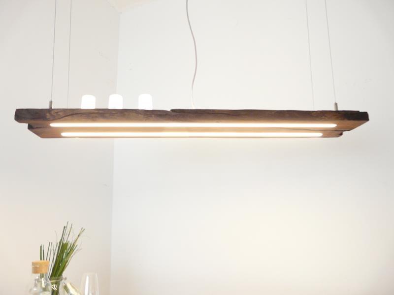 Wooden Lamp Dark Oiled Antique Beams