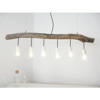 Lampe suspendue lampe de table à manger en bois flotté 6 fl. ~ 117 cm