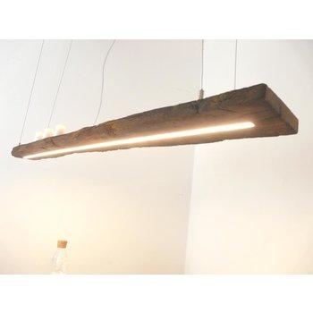 Lampe LED suspension bois poutres anciennes ~ 148 cm