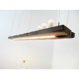 Lampe LED suspension bois poutres anciennes ~ 134 cm