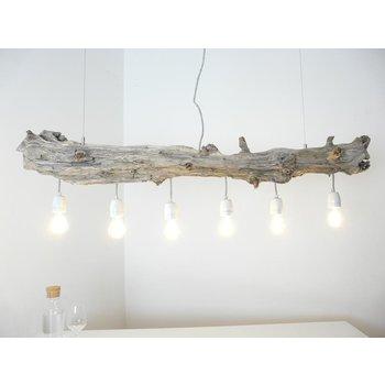 Schwemmholzlampe Treibholzleuchte mit Porzellanfassungen ~ 128 cm