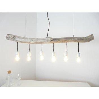 Lampe suspendue lampe de table à manger en bois flotté 6 flg. ~ 121 cm