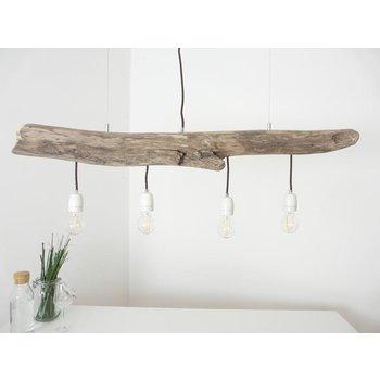 Lampe à suspension Lampe de table à manger en bois flotté 4 flg. ~ 110 cm