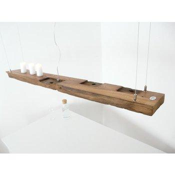 Lampe LED suspension bois poutres anciennes ~ 137 cm