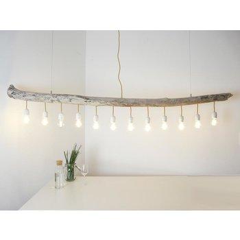 Lampe à suspension XXL Lampe de table à manger en bois flotté 12 flg. ~ 210 cm