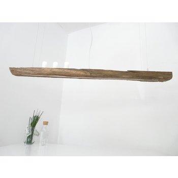 Lampe LED suspension bois poutres anciennes ~ 154 cm
