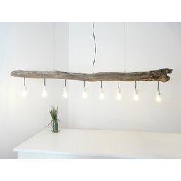 grande suspension lampe en bois flotté 8 flg. ~ 198 cm