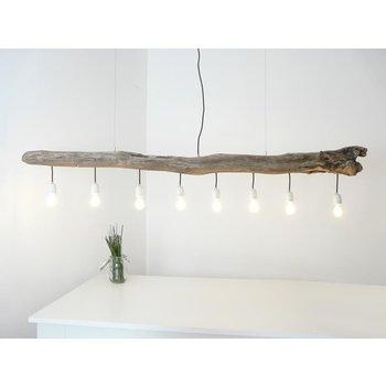 grande lampe suspendue lampe en bois flotté 8 flammes ~ 198 cm