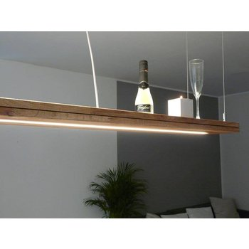 Hanging lamp wood, oiled oak with upper and lower light ~ 196 cm