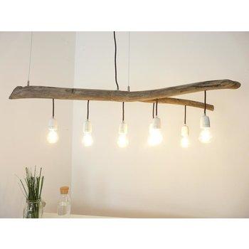 Lampe à suspension Lampe de table à manger en bois flotté 7 flg. ~ 120 cm
