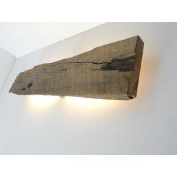 Led Wandleuchte aus antiken Holz ~ 73 cm
