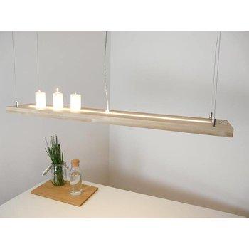 Hängelampe Holz Buche mit Ober und Unterlicht~ 196 cm