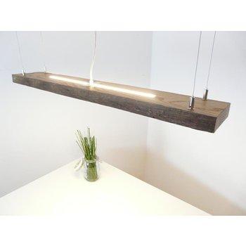 Lampe LED rustique suspendue poutres anciennes en bois clair ~ 98 cm