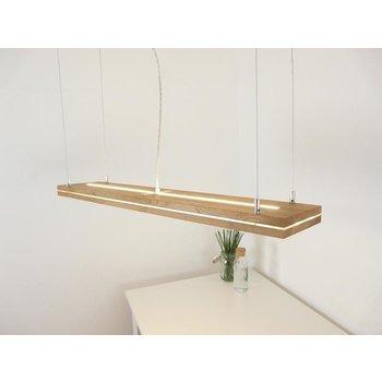 """Lampe à suspension """"Sandwich"""" en chêne huilé avec éclairage haut et bas ~ 100 cm"""