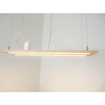 Lampe à suspension bois de hêtre clair, double ligne Led ~ 100 cm