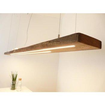 Lampe LED XXL suspendue poutres anciennes en bois clair ~ 220 cm
