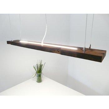 Barre lumineuse suspendue bois clair huilé foncé ~ 103 cm