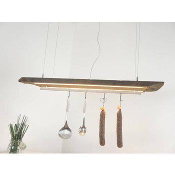 LED Lampe Hängeleuchte aus antiken Balken ~ 114 cm