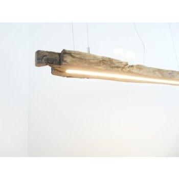 Lampe LED suspension bois poutres anciennes ~ 111 cm