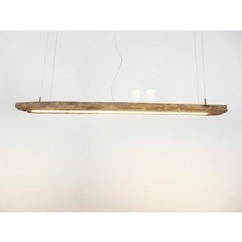 Lampe LED rustique suspendue poutres anciennes en bois clair ~ 115 cm