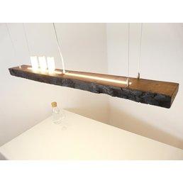 Led hanging lamp wood, dark oiled
