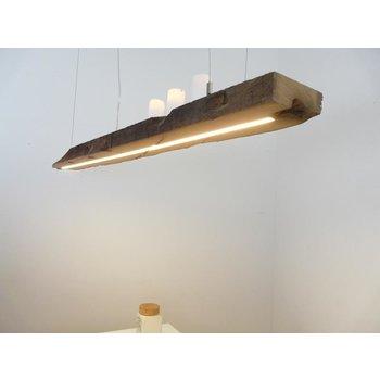 Lampe LED suspension bois poutres anciennes ~ 150 cm