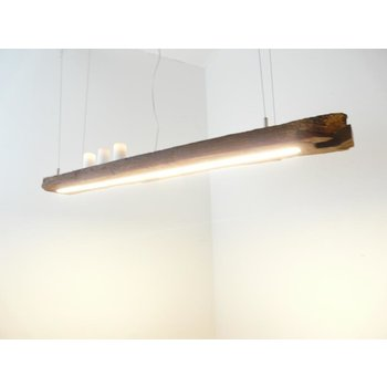 Lampe LED suspension bois poutres anciennes ~ 122 cm
