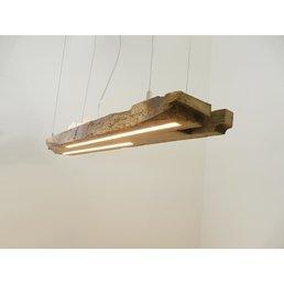 Lampe LED suspension bois poutres anciennes ~ 101 cm