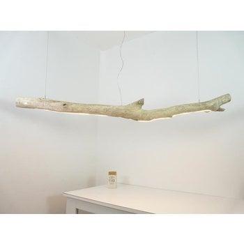 grande lampe à suspension LED en bois flotté ~ 196 cm