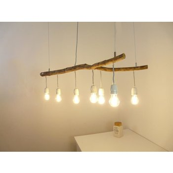 Driftwood lamp with porcelain sockets ~ 110 cm