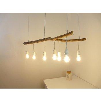 Lampe en bois flotté avec douilles en porcelaine ~ 110 cm