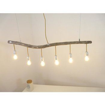 Driftwood lamp with porcelain sockets ~ 116 cm