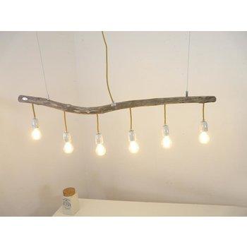 Lampe en bois flotté avec douilles en porcelaine ~ 116 cm