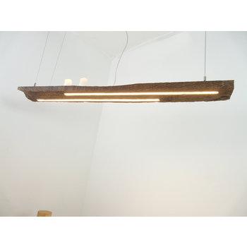 Lampe LED suspension bois poutres antiques ~ 128 cm